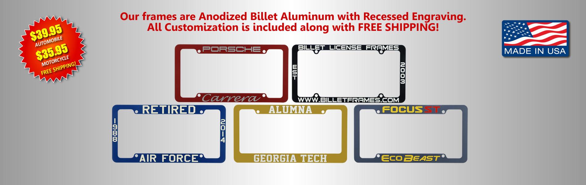 Billet Frames Custom License Plate Frames