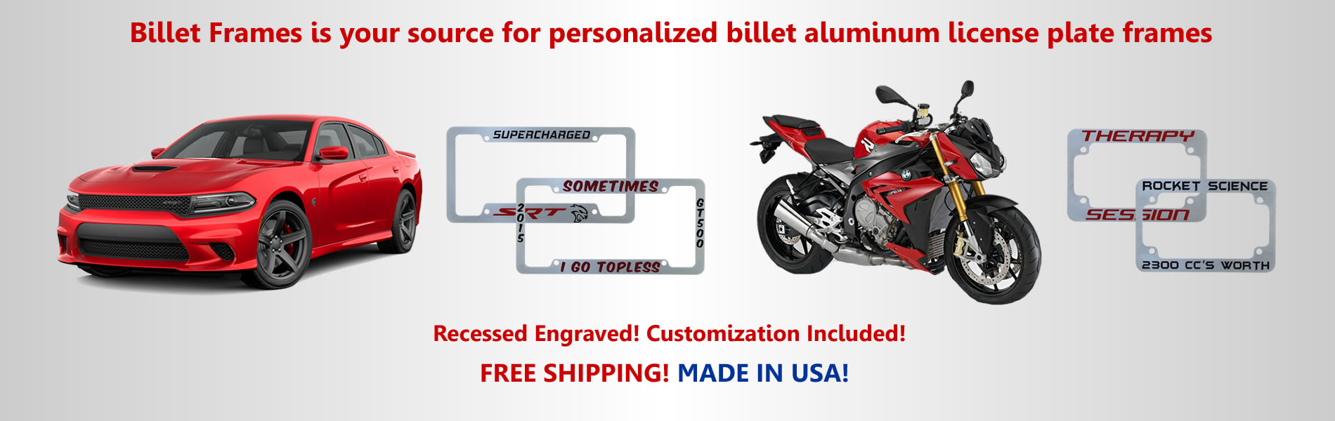 Custom Engraved Billet Auto & Motorcycle License Plate Frames -